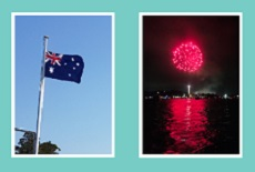 Australia Day Bass and Flinders. Flag and Fireworks